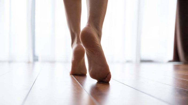barefoot on radiant heated flooring